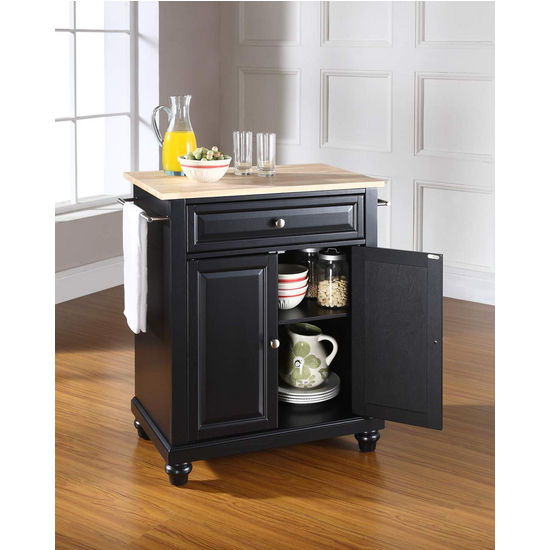 Crosley Furniture Cambridge Natural Wood Top Portable Kitchen Island in Black Finish