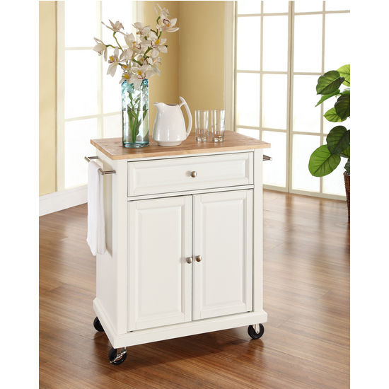 Furniture Natural Brown Movable Kitchen Island With: Crosley Furniture Natural Wood Top Portable Kitchen Cart