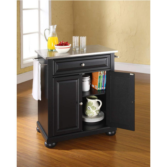 Crosley Furniture Alexandria Stainless Steel Top Portable Kitchen Island in Black Finish