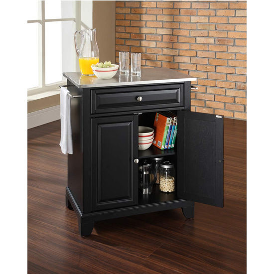 Crosley Furniture Newport Stainless Steel Top Portable Kitchen Island in Black Finish