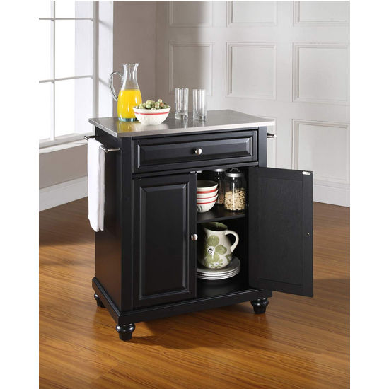 Crosley Furniture Cambridge Stainless Steel Top Portable Kitchen Island in Black Finish