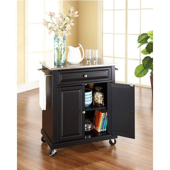 Crosley Furniture Stainless Steel Top Portable Kitchen Cart/Island in Black Finish