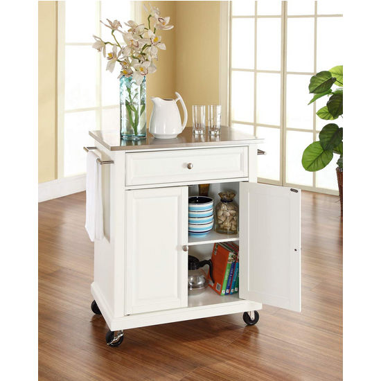 Stainless Steel Top Kitchen Island Counter Height Utility: Crosley Furniture Stainless Steel Top Portable Kitchen