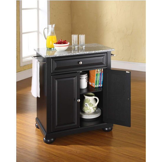 Crosley Furniture Alexandria Solid Granite Top Portable Kitchen Island in Black Finish
