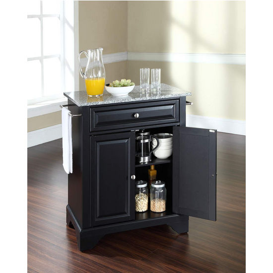 Crosley Furniture LaFayette Solid Granite Top Portable Kitchen Island in Black Finish