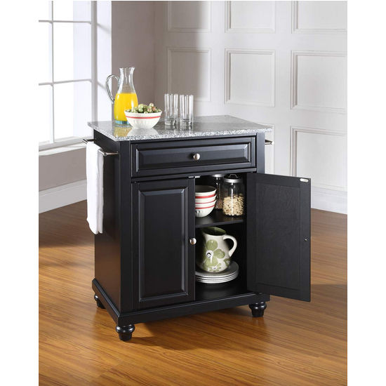 Crosley Furniture Cambridge Solid Granite Top Portable Kitchen Island in Black Finish