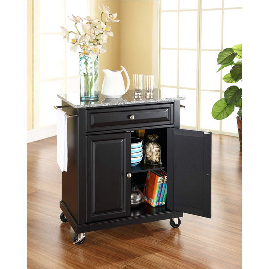 Crosley Furniture Solid Granite Top Portable Kitchen Cart/Island in Black Finish