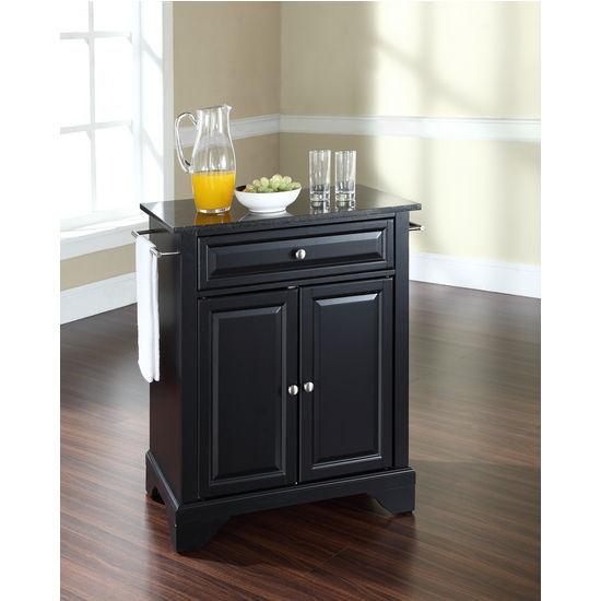 Crosley Furniture LaFayette Solid Black Granite Top Portable Kitchen Cart or