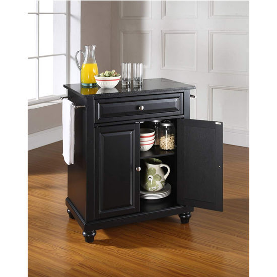 Crosley Furniture Cambridge Solid Black Granite Top Portable Kitchen Island in Black Finish