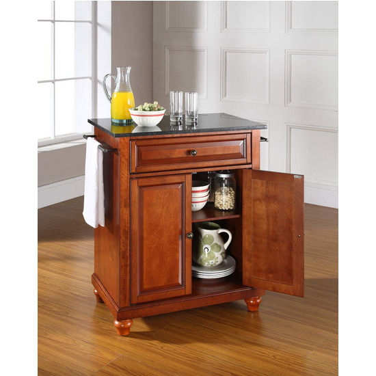 Crosley Furniture Cambridge Solid Black Granite Top Portable Kitchen Cart or