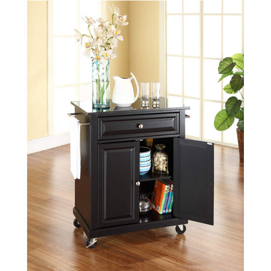 Crosley Furniture Solid Black Granite Top Portable Kitchen Cart/Island in Black Finish