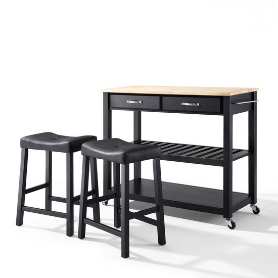 "Crosley Furniture Natural Wood Top Kitchen Cart/Island in Black Finish With 24"" Black Upholstered Saddle Stools"