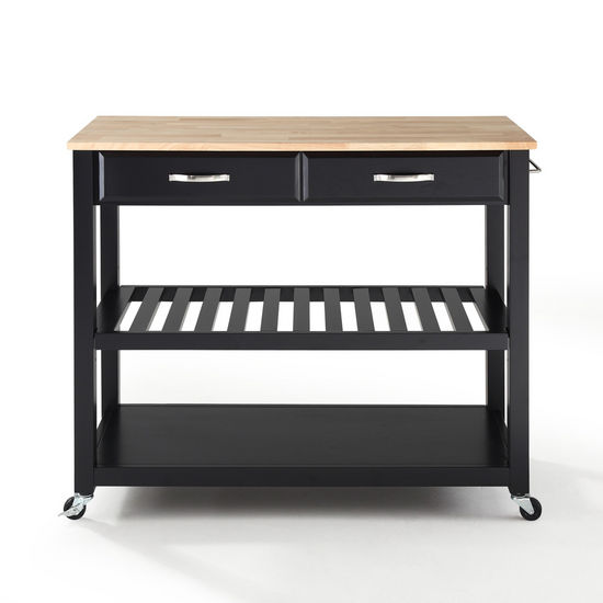 Crosley Furniture Natural Wood Top Kitchen Cart/Island With Optional Stool Storage in Black Finish