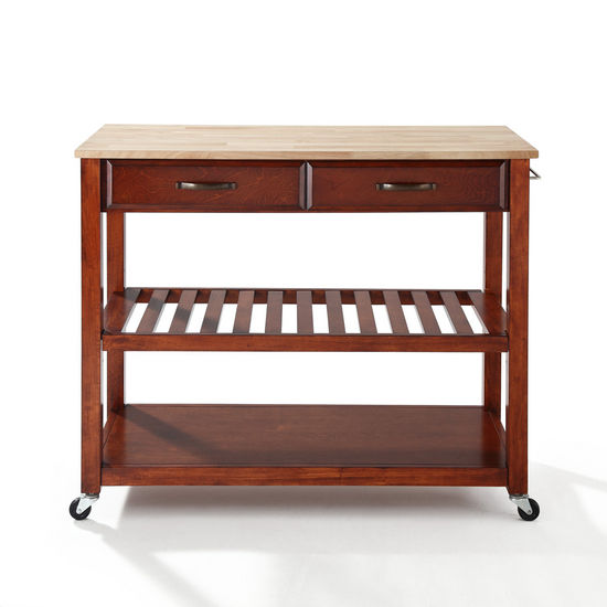 Crosley Furniture Natural Wood Top Kitchen Cart/Island With Optional Stool Storage in Classic Cherry Finish