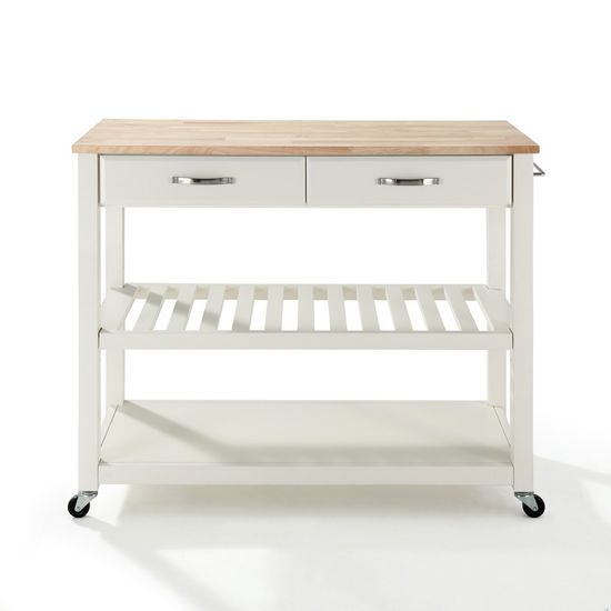 Crosley Furniture Natural Wood Top Kitchen Cart/Island With Optional Stool Storage in White Finish