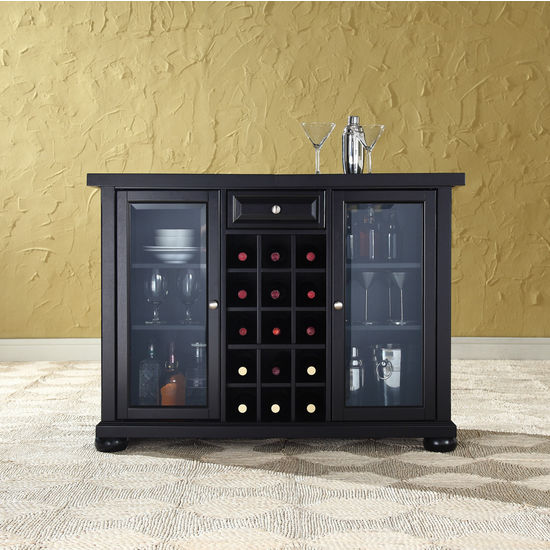 Crosley Furniture Alexandria Sliding Top Bar Cabinet in Black Finish