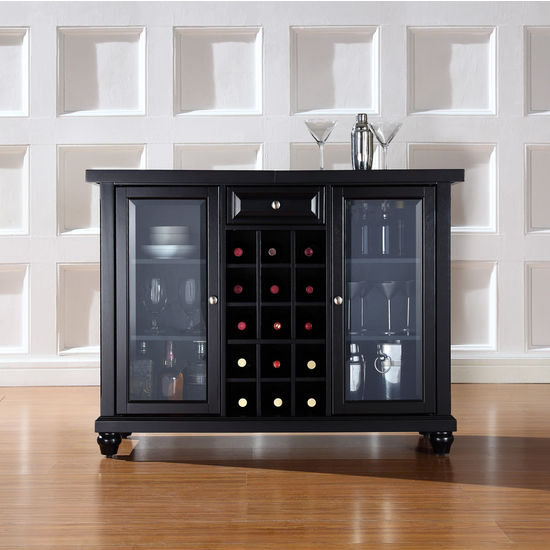 Crosley Furniture Cambridge Sliding Top Bar Cabinet in Black Finish