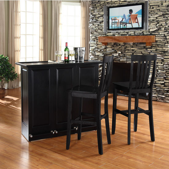 """Crosley Furniture Mobile Folding Bar in Black Finish With 30"""" School House Stool in Black Finish"""