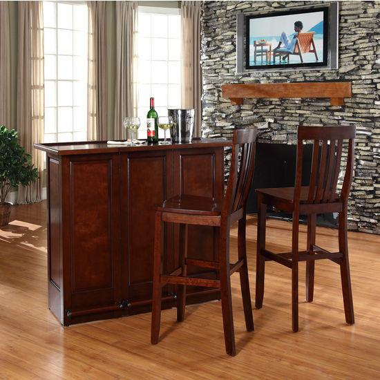 "Crosley Furniture Mobile Folding Bar in Vintage Mahogany Finish With 30"" School House Stool in Mahagony Finish"