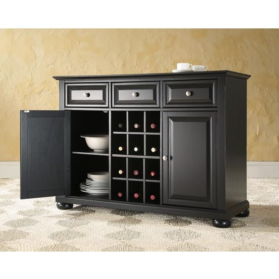 Crosley Furniture Alexandria Buffet Server / Sideboard Cabinet with Wine Storage