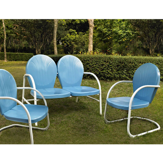 Crosley Furniture Griffith 3 Piece Metal Outdoor Conversation Seating Set - Loveseat & 2 Chairs in Sky Blue Finish