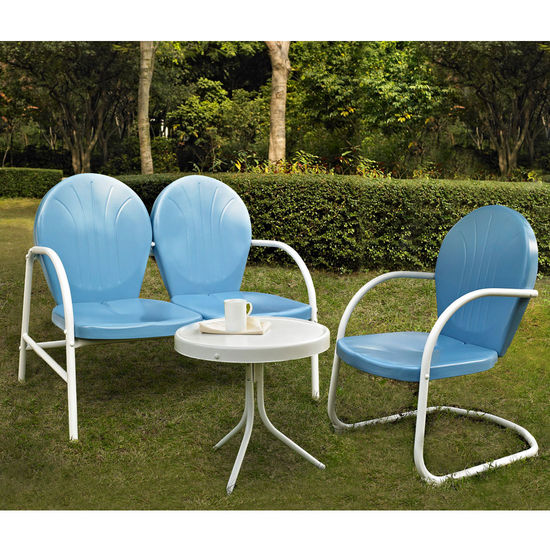 Crosley Furniture Griffith 3 Piece Metal Outdoor Conversation Seating Set - Loveseat & Chair in Sky Blue Finish with Side Table in White Finish