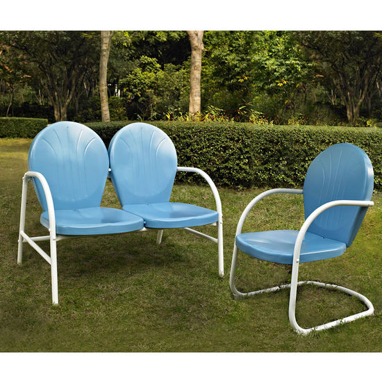 Crosley Furniture Griffith 2 Piece Metal Outdoor Conversation Seating Set - Loveseat & Chair in Sky Blue Finish