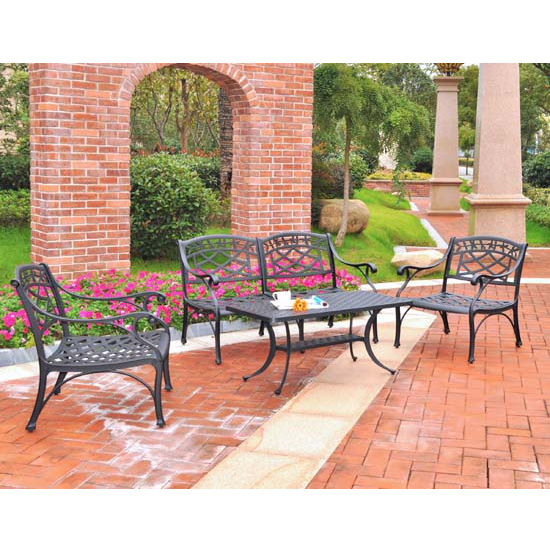 Crosley Furniture Sedona 4 Piece Cast Aluminum Outdoor Conversation Seating Set - Loveseat, 2 Club Chairs & Cocktail Table in Black Finish