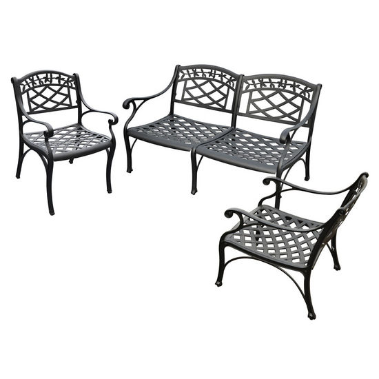 Crosley Furniture Sedona 3 Piece Cast Aluminum Outdoor Conversation Seating Set - Loveseat & 2 Club Chairs Black Finish