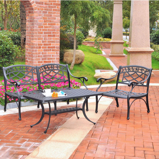 Crosley Furniture Sedona 3 Piece Cast Aluminum Outdoor Conversation Seating Set - Loveseat, Club Chair & Cocktail Table Black Finish