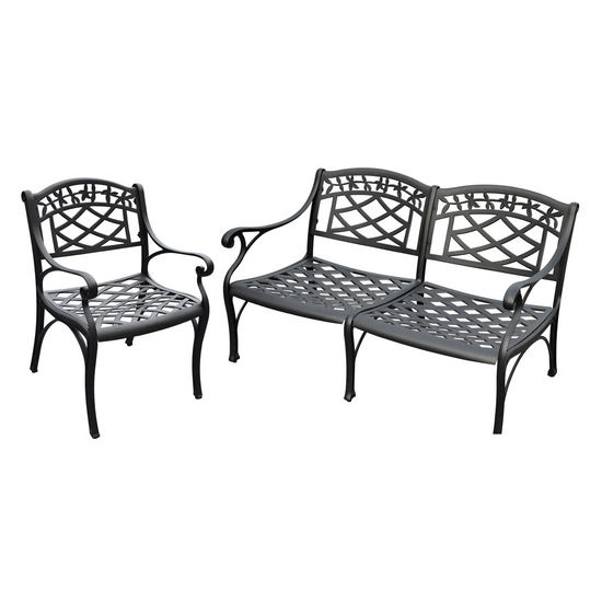 Crosley Furniture Sedona 2 Piece Cast Aluminum Outdoor Conversation Seating Set - Loveseat & Club Chair Black Finish