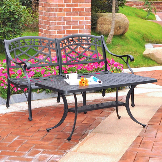 Crosley Furniture Sedona 2 Piece Cast Aluminum Outdoor Conversation Seating Set - Loveseat & Cocktail Table Black Finish