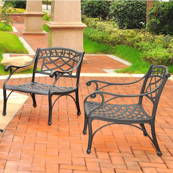 Crosley Furniture Sedona 2 Piece Cast Aluminum Outdoor Conversation Seating Set - 2 Club Chairs Black Finish