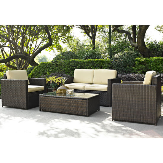 Crosley Furniture Palm Harbor 4 Piece Outdoor Wicker Seating Set - Loveseat, Two Chairs & Glass Top Table