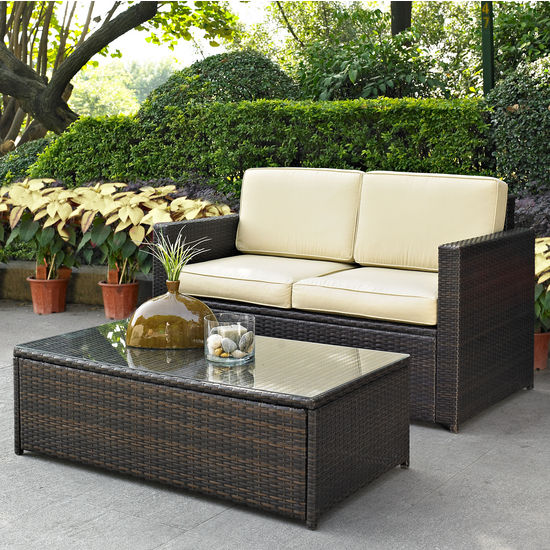 Crosley Furniture Palm Harbor 2 Piece Outdoor Wicker Seating Set - Loveseat & Glass Top Table