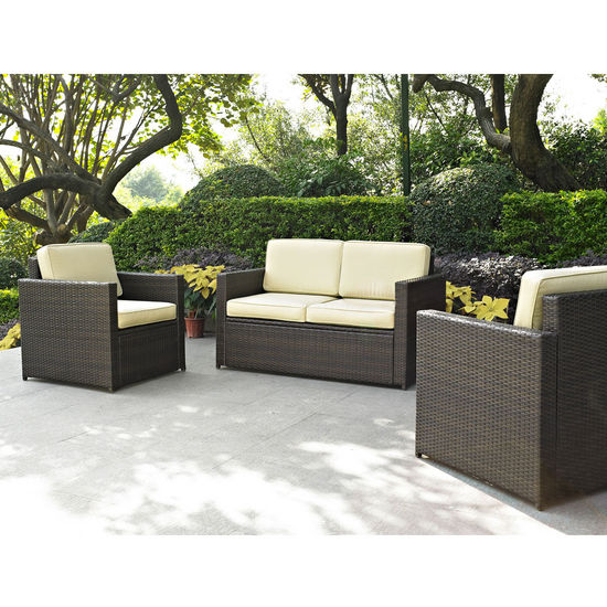 Crosley Furniture Palm Harbor 3 Piece Outdoor Wicker Seating Set - Loveseat & Two Outdoor Chairs