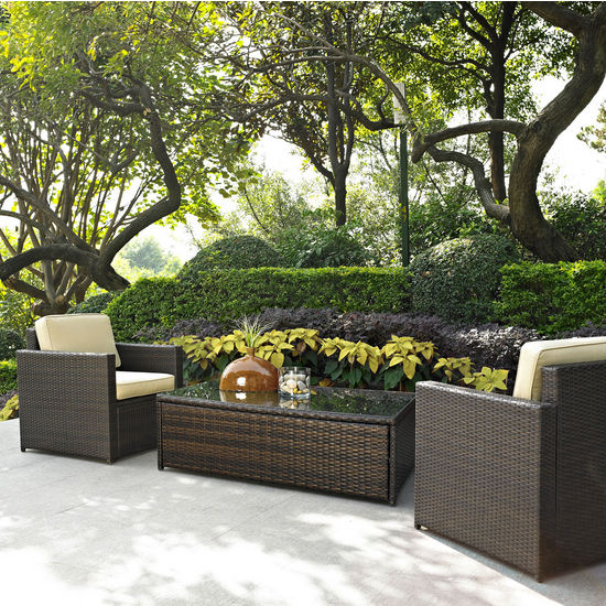 Crosley Furniture Palm Harbor 3 Piece Outdoor Wicker Seating Set - Two Outdoor Wicker Chairs & Glass Top Table