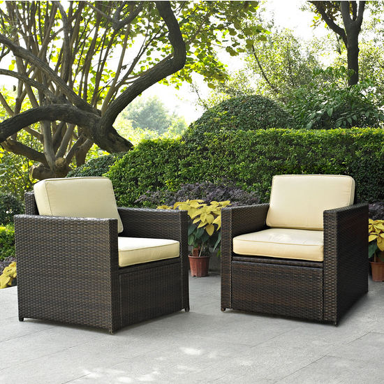 Crosley Furniture Palm Harbor 2 Piece Outdoor Wicker Seating Set - Two Outdoor Wicker Chairs