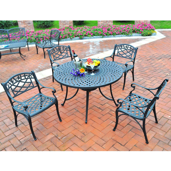 "Crosley Furniture Sedona 42"" Five Piece Cast Aluminum Outdoor Dining Set with Arm Chairs in Black Finish"