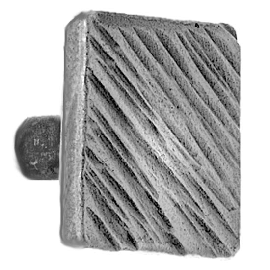 Acorn Manufacturing Iron Art Square Knob with Diagonal Lines