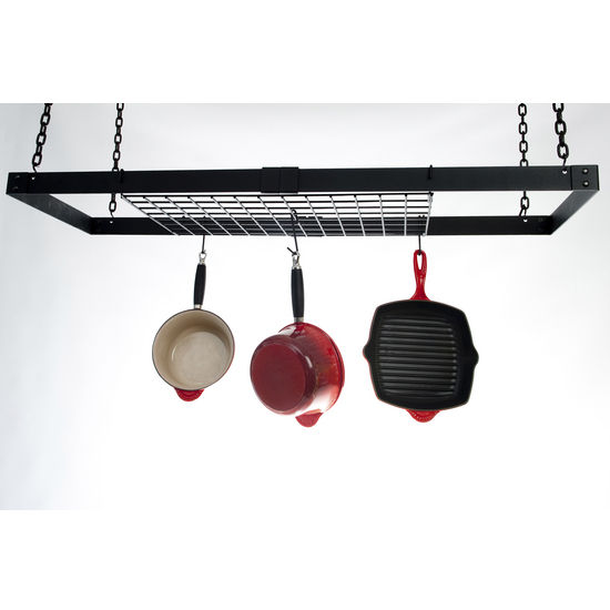 "Advantage Components Expandable 16"" Rectangle Pot Rack with Shelf"