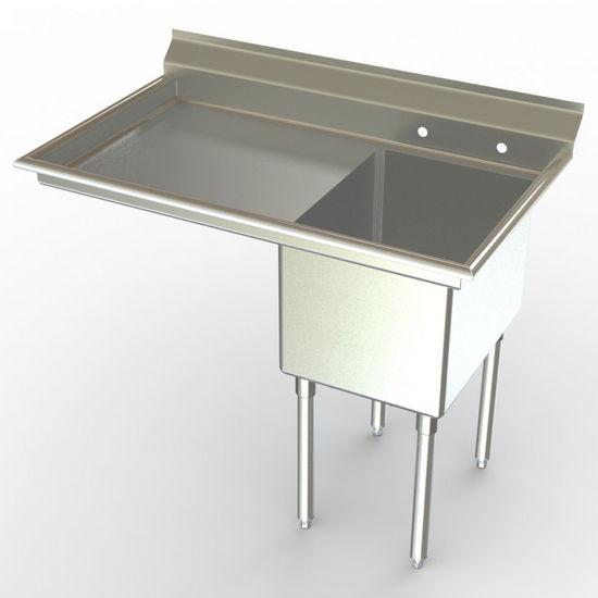 Aero NSF Single Bowl Deluxe Sinks, Left Hand Drainboard