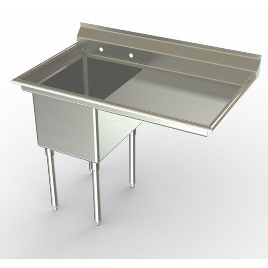 Aero NSF Single Bowl Deluxe Sinks, Right Hand Drainboard