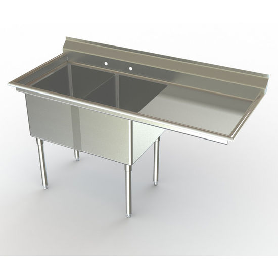 Aero NSF Double Bowl Deluxe Sinks, Right Hand Drainboard