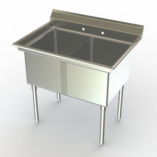 Aero NSF Double Bowl Deluxe Sinks, No Drainboard
