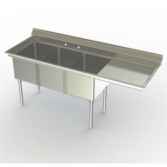 Aero NSF 3 Compartment Deluxe Sinks, Right Hand Drainboard