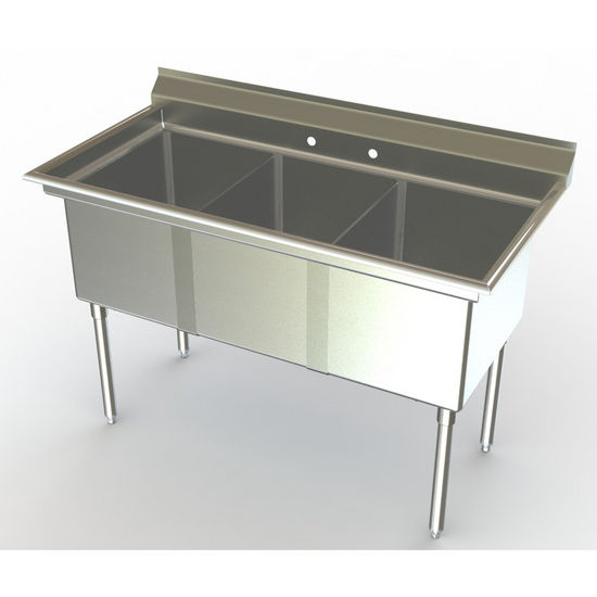 Aero NSF 3 Compartment Deluxe Sinks, No Drainboard