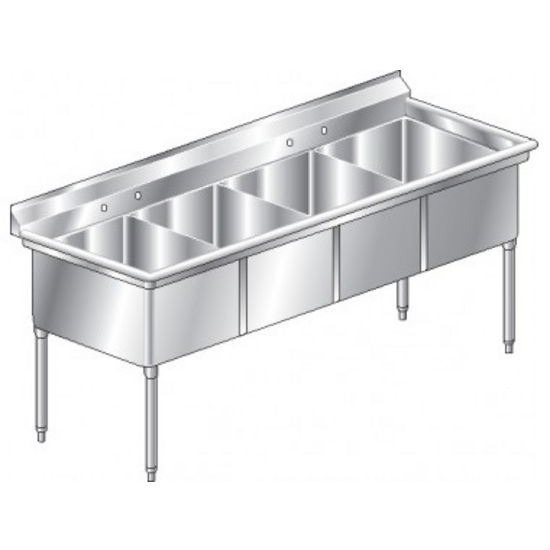 Aero NSF 4 Compartment Deluxe Sink, No Drainboard