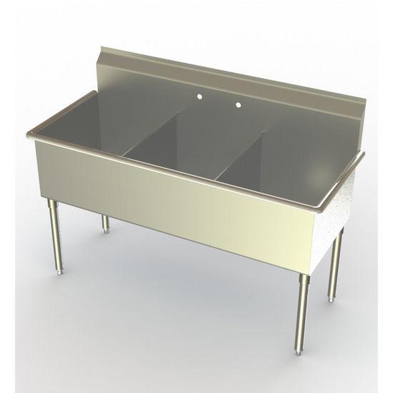 Aero Non NSF 3 Compartment Deluxe Sinks, No Drainboard