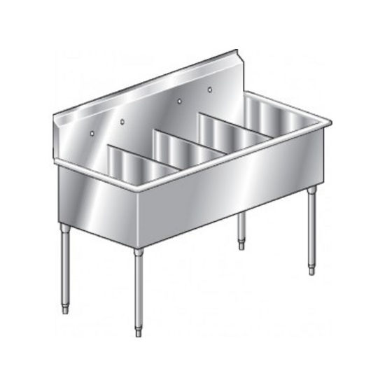 Aero Non-NSF 4 Compartment Deluxe Sinks, No Drainboard